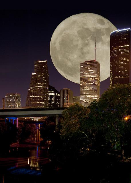 Moon rise over Houston