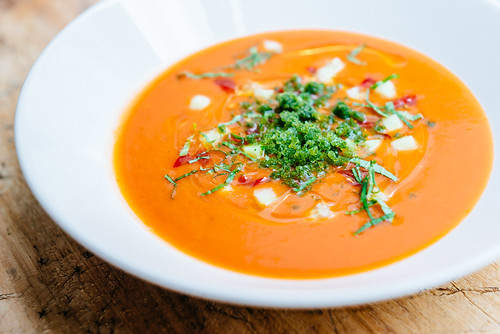 Cold tomato soup with granite of basil