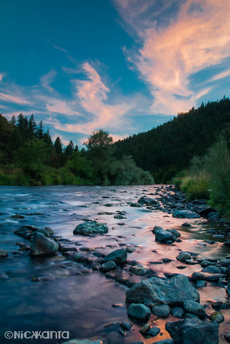 trees sunset summer sky color reflection water clouds oregon river nikon rocks rogueriver d90 outdoorphotography tamron1750