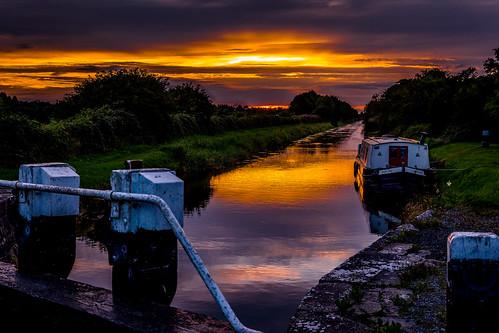royal canal kilcock kildare ireland lock 17 waterways boat sunset summer barge