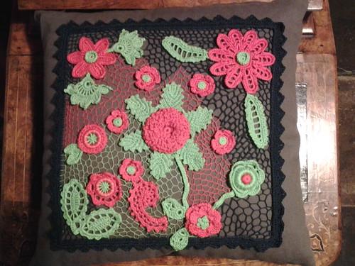 Irish crochet cushion cover