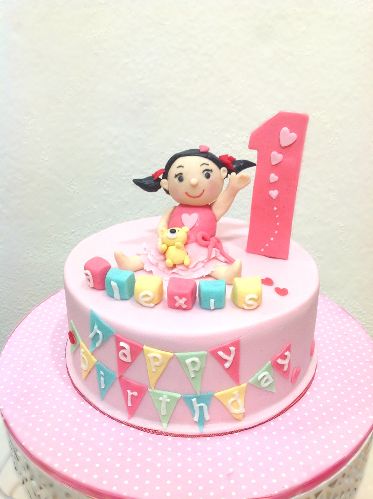 Astounding Little Miss 1St Birthday Cake Baby Girl Cake To Celebrate Flickr Funny Birthday Cards Online Elaedamsfinfo