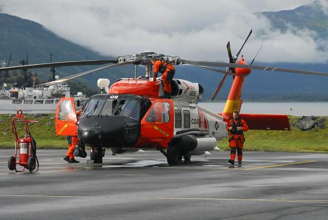 Coast Guard MH-60 Jayhawk helicopter crew prepares for flight in Kodiak, Alaska