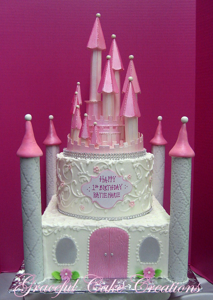 Miraculous Pink And White Princess Castle Birthday Cake Grace Tari Flickr Funny Birthday Cards Online Elaedamsfinfo