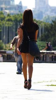 girl walking away from camera