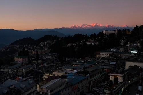 pink sunset india mountain town twilight fuji darjeeling westbengal kangchenjunga x100 bagdogra