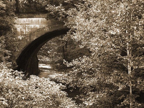 railroad bridge tree sepia creek landscape stream indiana viaduct avon 2014 project52