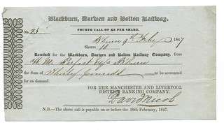 Blackburn, Darwen and Bolton Railway receipt for fourth share call of £30 1847   by ian.dinmore