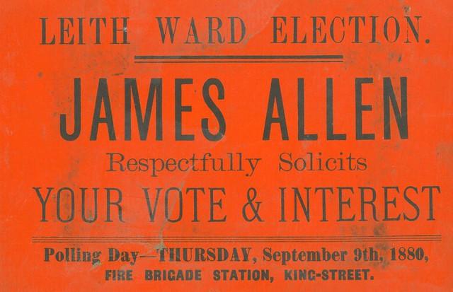 Voting Card for James Allen 1880