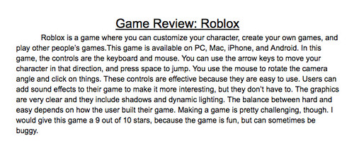 Video Game Review Roblox
