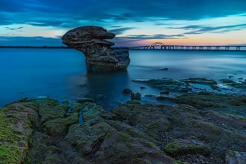 longexposure bridge sunset lake water rocks texas lewisville