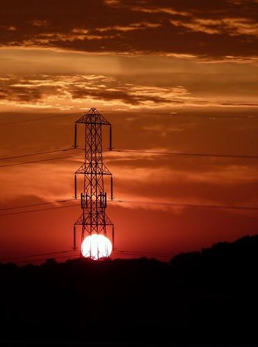sunset sky orange clouds lumix dusk pylon panasonic fireinthesky fz100