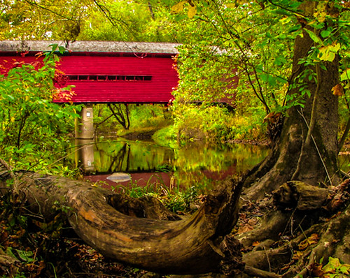 bridge red usa color reflection tree nature water america creek canon landscape photography log unitedstates pennsylvania structures pa coveredbridge northamerica s3 chestercounty frenchcreek canonpowershots3 dcsaint sheeder