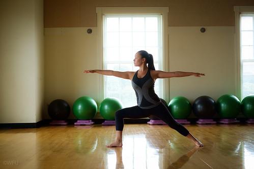 Student practices yoga