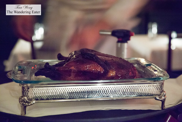 Roast Duck Flambé - setting up presentation
