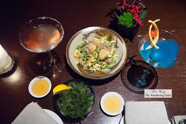 Goya Champaru - stir fried bitter melon with tofu and carrots and Okinawa sea grapes