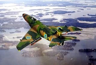 "1:72 Saab A 32A ""Lansen"", aircraft '29' (s/n 32209) of the Swedish Air Force Försökscentralen during camouflage trials; Malmslätt, Sweden, 1970 (Quasi-whif/Heller kit conversion) | by dizzyfugu"