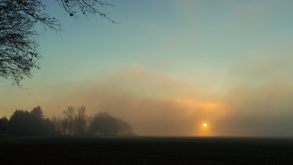 misty sunset