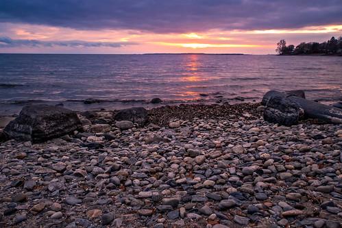 kingston lakeontario sunset beach pebbles