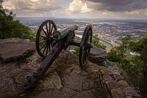 Cannon on Lookout MT. overlooking Chattanooga, TN Sunset HDR 6X4