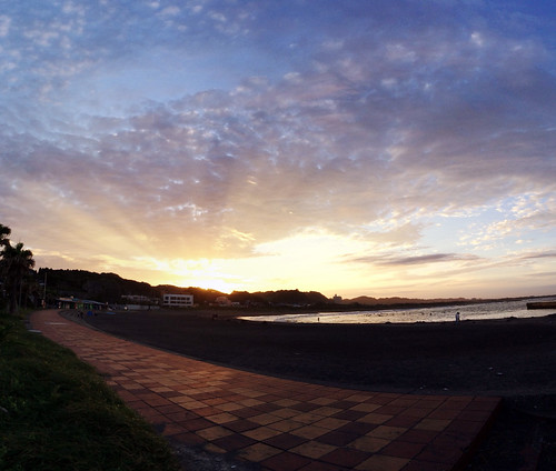 sunset japan pacific sunbeams 夕焼け 日没 太陽光線 天使の梯