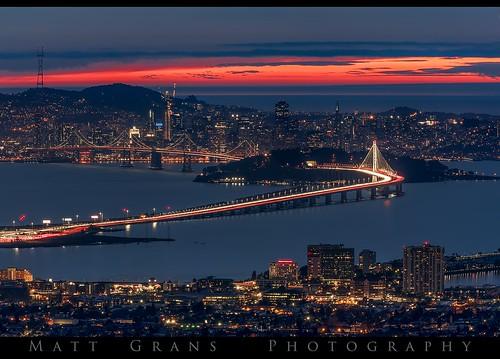 sanfrancisco california sunset twilight bridge skyline lights