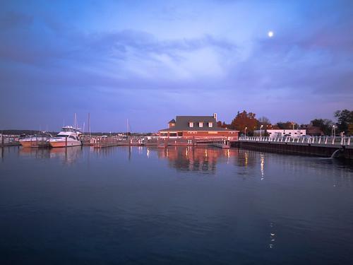 blue sunset usa lake seascape water marina docks landscape geotagged boats outdoors bay dusk michigan scenic olympus lakemichigan greatlakes recreation traversecity davidcornwell westarmgrandtraversebay olympuspenepl2 olympusmzuiko12mmf20 duncanlclinchmarina
