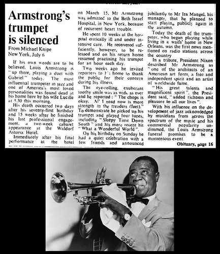 6th July 1971 - Death of Louis Armstrong | by Bradford Timeline
