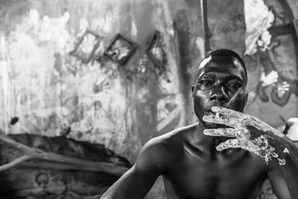 Artist working the bronze in Bobo Dioulasso, Burkina Faso