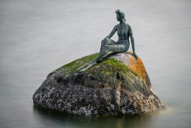 Girl in a Wetsuit Bronze Statue in Stanley Park (Vancouver BC, Canada)