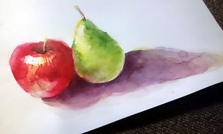 """""""Apple and pear"""" Watercolour painting by Elaine Chen   by Northshore School of Art"""