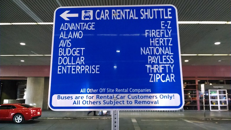LAX Car Rental Shuttle Sign