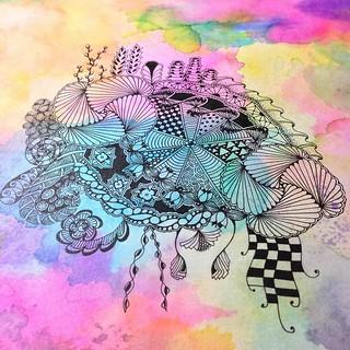 WIP #zentangle #tangle #tangling #zia #wip #alphabetsalad #laurelreganczt #tenthousandtangles | by Laurel Storey, CZT
