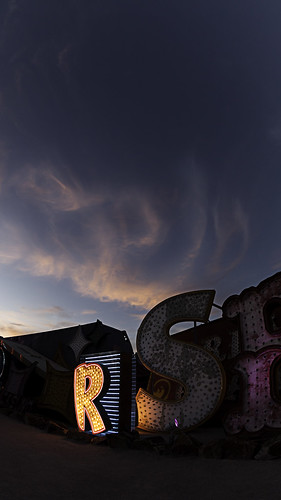 vegas sunset sky usa sign night america outside lights downtown neon sundown lasvegas dusk nevada places canon5d fisheyelens 2014 neonmuseum neongraveyard