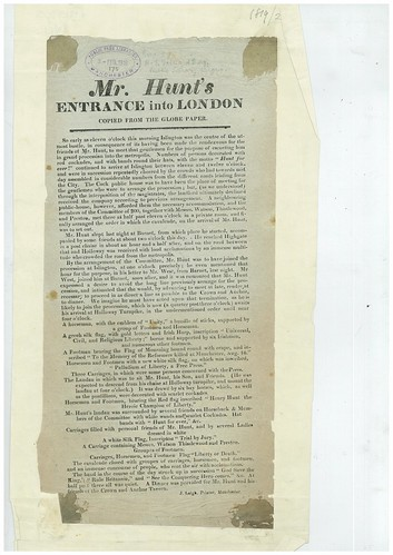 An account of Mr. Hunt's [Henry Hunt] entrance into London, copied from the Globe Paper. | by archivesplus