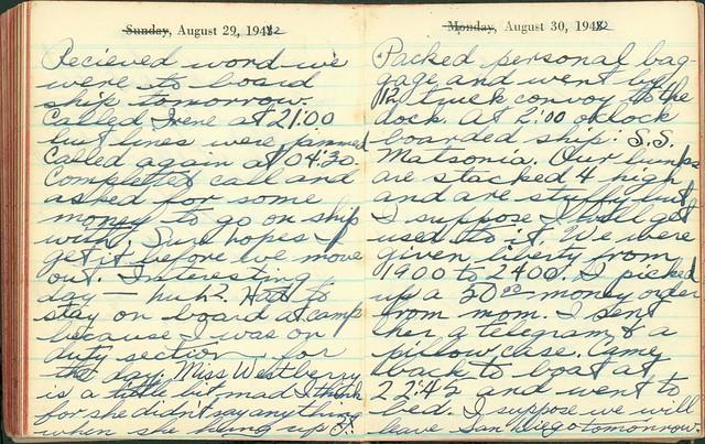 Lloyd Fuller Diary, August 29-30, 1942