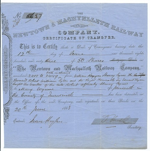 Newtown and Machynlleth Railway Transfer Certificate 1863 1 | by ian.dinmore