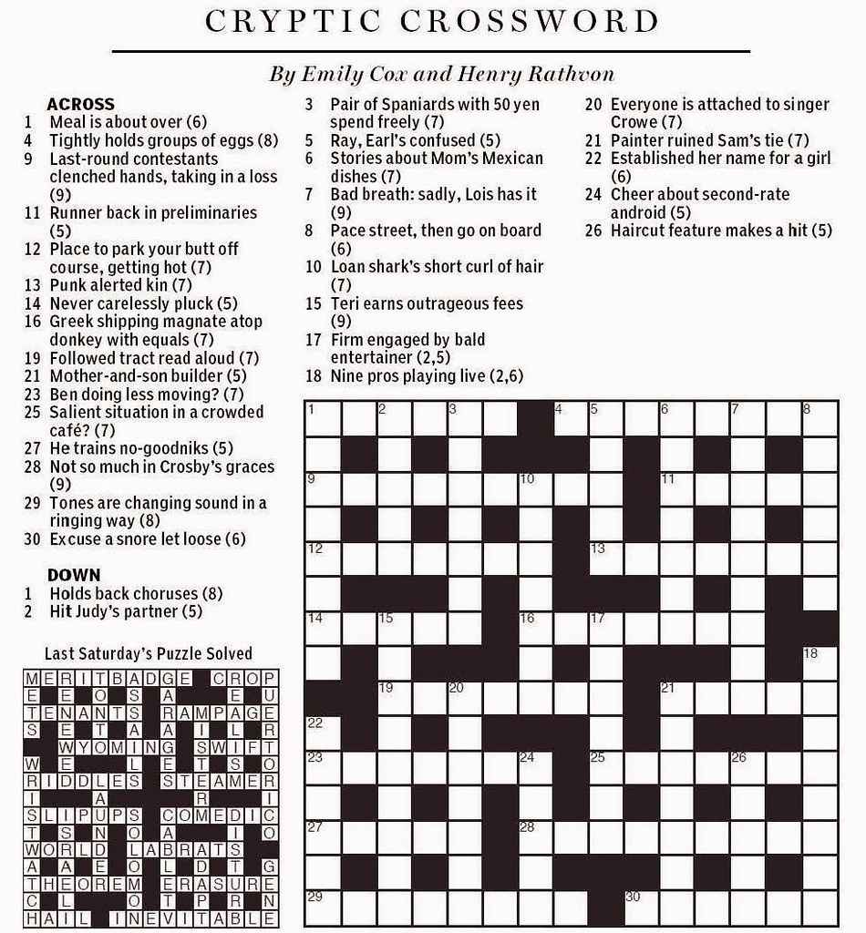 picture relating to Boston Globe Crossword Printable called Countrywide Article Cryptic Crossword - Cox Rathvon August 9