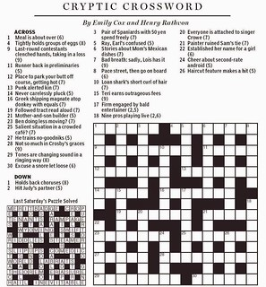 image relating to Boston Globe Crossword Printable referred to as Countrywide Article Cryptic Crossword - Cox Rathvon August 9