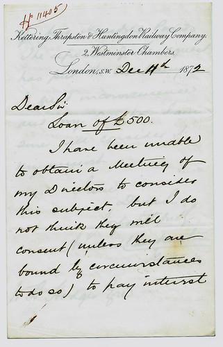 Kettering, Thrapston & Huntingdon Railway letterhead 1872 | by ian.dinmore
