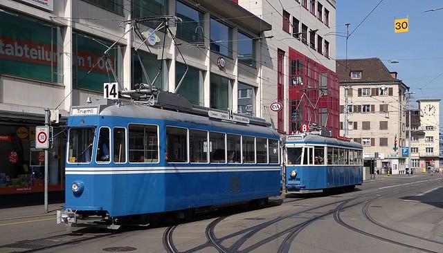 Tram Museum Zürich 2016  -  Ce 4/4 1392 und 1530 beim Sternen Oerlikon in Zürich