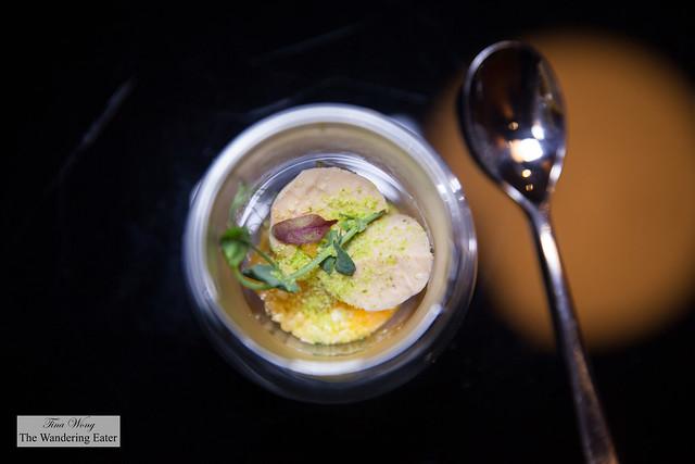 Foie gras mousse, apricot, Pop Rock candy