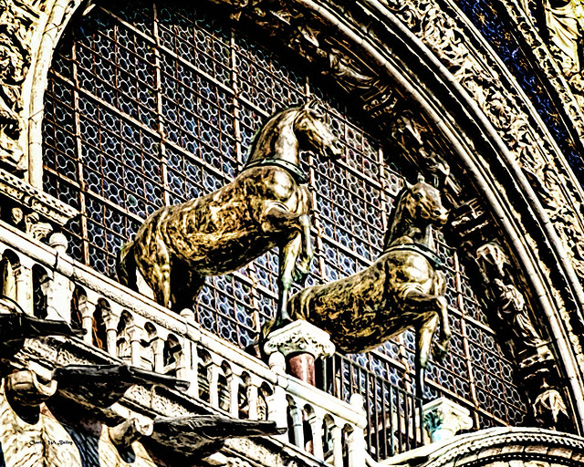 Digital Airbrush Painting of Horse Statues on St Mark's Basilica in Venice, Italy by Charles W. Bailey, Jr.