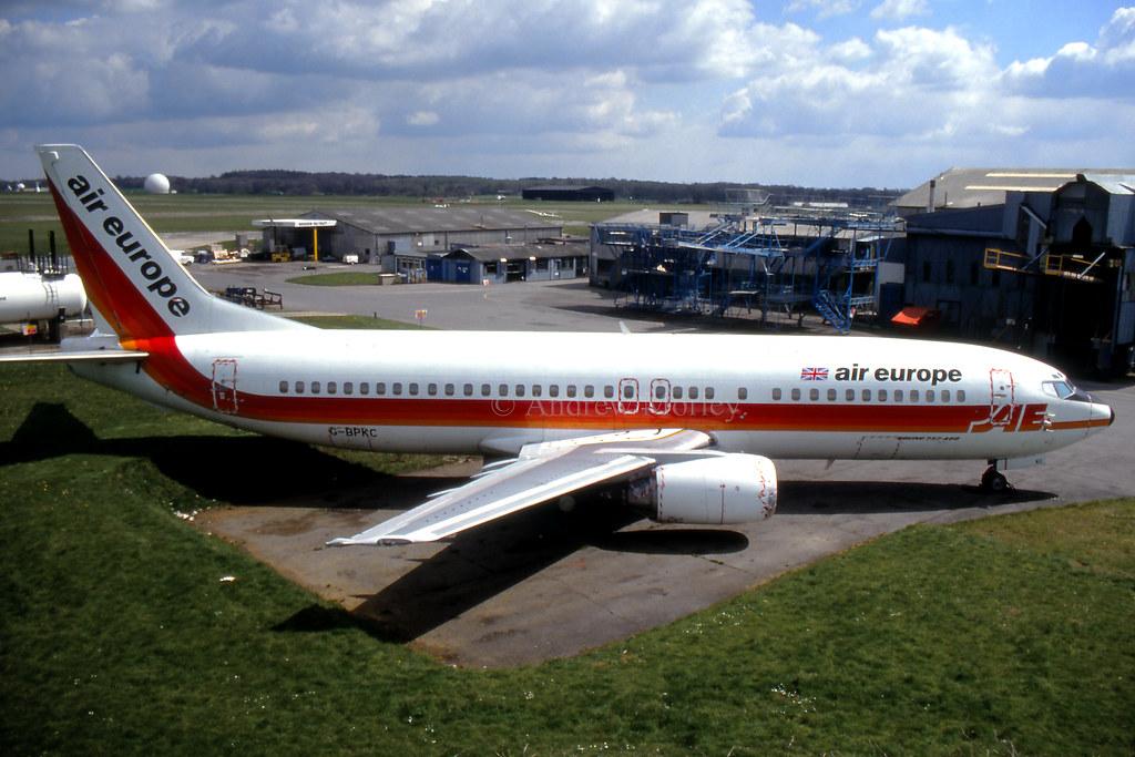 Air Europe 737 G-BPKC at Lasham in 91.