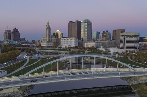 columbus drone downtown inspire1pro bluehour clearskies architecture ariel mainavenuebridge nightlights dji reflection