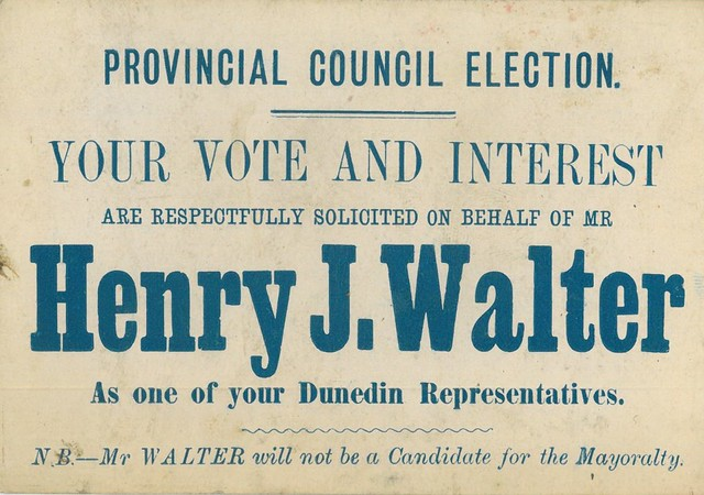 Voting Card for Henry J Walter Provincial Council