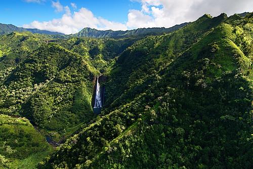 manawaiopunafalls jurassicfalls jurassicpark waterfall kauai hawaii jungle aerialphotography landscape