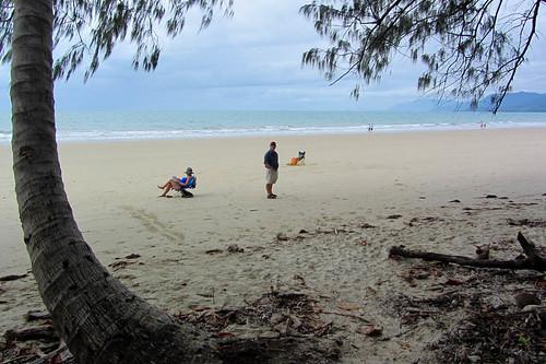 trees sea sky people beach water clouds sand queensland tropical portdouglas austraila