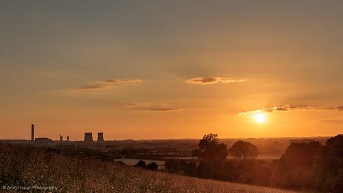 sunset england sky orange sun clouds evening unitedkingdom sony hill hilltop a77 wittenhamclumps southoxfordshire didcotpowerstation littlewittenham sonyalpha andyhough earthtrust slta77 andyhoughphotography