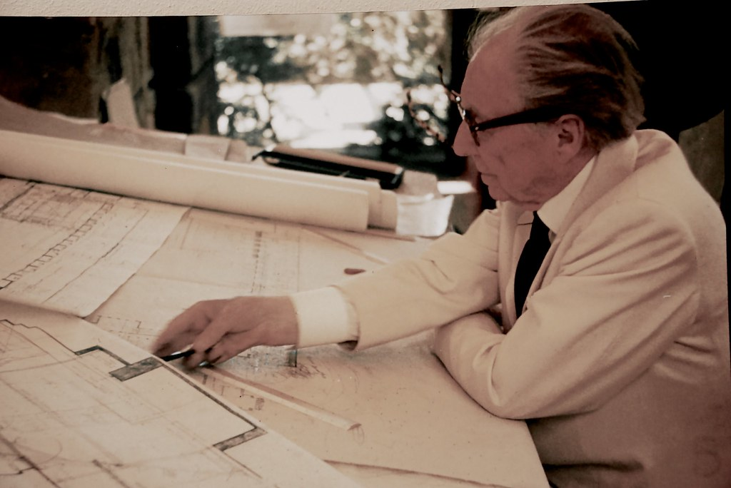 Frank Lloyd Wright, Architect,                 Drafting the Marin County Civic Center, 1958 or 1959 ...